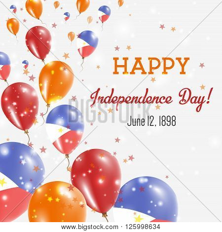 Philippines Independence Day Greeting Card. Flying Balloons In Philippines National Colors. Happy In