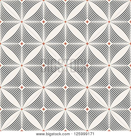 Seamless pattern. Modern stylish geometric texture. Regularly repeating tiles with arched rhombuses diamonds arcs. Vector element of graphic design