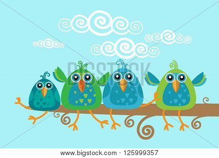Group Of Birds Sitting on Branch Flat Vector Illustration