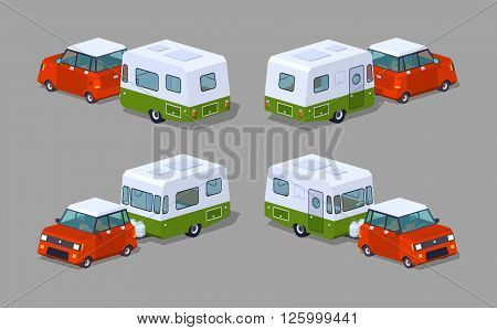 Red hatchback with green-white motor home. 3D lowpoly isometric vector illustration. The set of objects isolated against the grey background and shown from different sides
