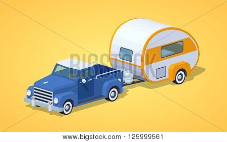 Blue retro pickup with orange-white motor home against the yellow background. 3D lowpoly isometric vector illustration