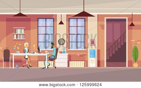 Creative Office Co-working Center Business People Sitting Desk Working Together Vector Illustration