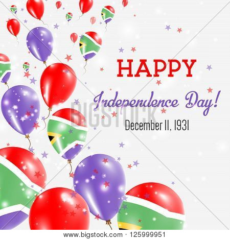 South Africa Independence Day Greeting Card. Flying Balloons In South Africa National Colors. Happy