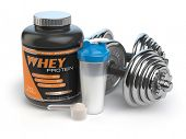 Постер, плакат: Sports bodybuilding supplements or nutrition Fitness or healthy lifestyle concept Whey protein wi