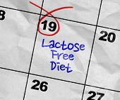Concept image of a Calendar with the text: Lactose Free Diet poster
