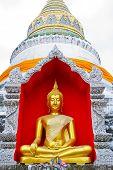 image of siddhartha  - Buddha inside the white pagoda at chiangmai temple - JPG