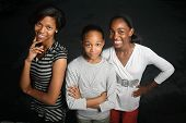 stock photo of teenage girl  - Happy African American family - JPG
