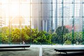 Glass wall in the office building poster