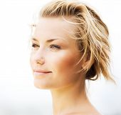 stock photo of beautiful woman face  - Beautiful Young Woman Face - JPG
