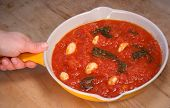 Freshly Cooked Tomato Pasta Sauce With Fresh Garlic And Basil poster