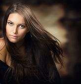 picture of brunette hair  - Beautiful Young Woman - JPG