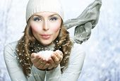 stock photo of windy weather  - Christmas Girl - JPG