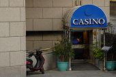 picture of keno  - subdued and low profile entrance to a casino  - JPG