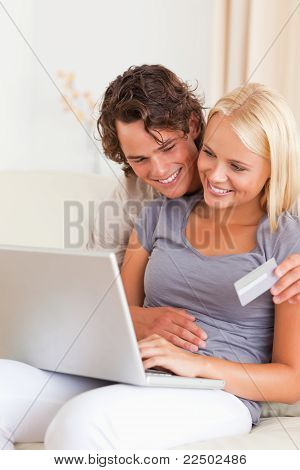 Portrait Of A Lovely Couple Shopping Online