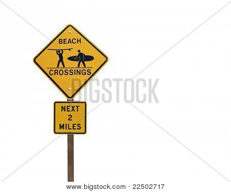 Surfer and Beach Crossing caution sign isolated on white