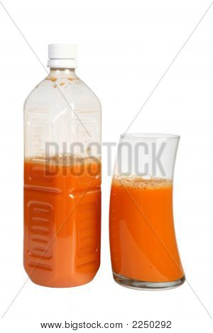 Bottle And Glass Of Organic Veg And Fruit Juice