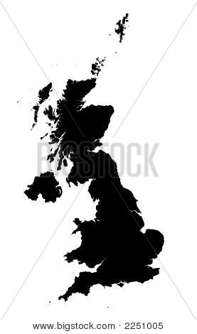 Detailed Isolated Map Of United Kingdom