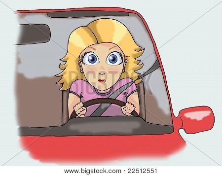 Blonde Girl Driving