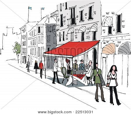 Stockholm cafe illustration