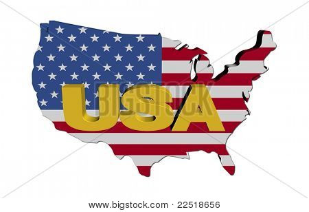 USA Karte Flagge mit Text illustration