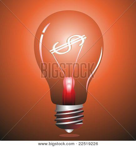 Light bulb with Dollar symbol.