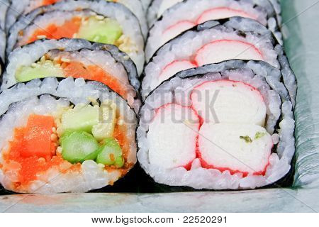 Sushi Roll Into A Circle Are Arranged
