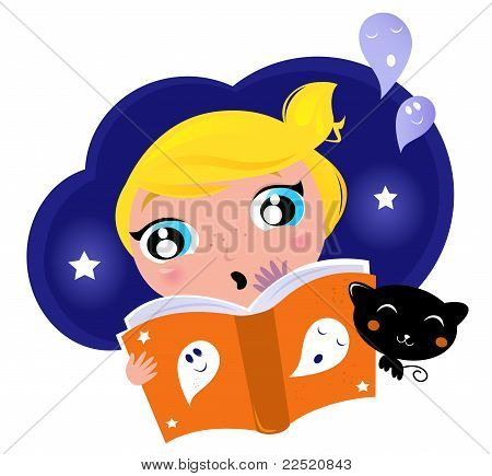 Little Child Has Fear When Reading Halloween Night Story.