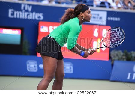 TORONTO: AUGUST 12. Serena Williams plays against Jie Zheng in the Rogers Cup 2011 on August 12, 2011 in Toronto, Canada.