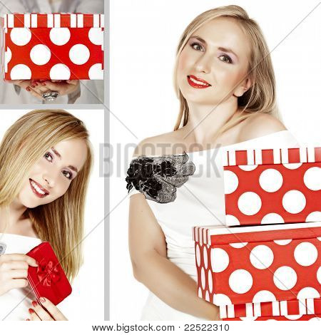 collage of beautiful woman with red boxes: concept of shopping, birthday or christmas