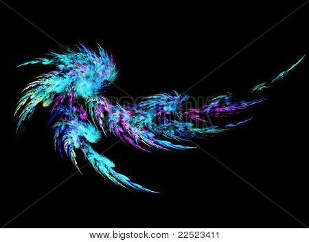 Blue and purple abstract feather