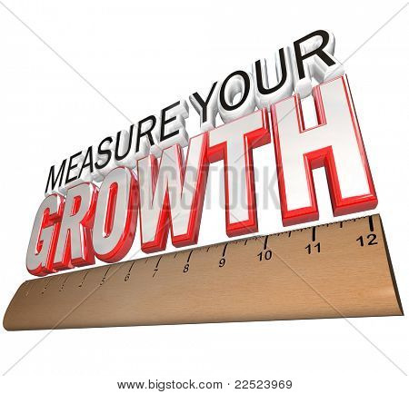 A ruler measuring the words Measure Your Growth, illustrating the importance of tracking your progress and determining if you have achieved your goals