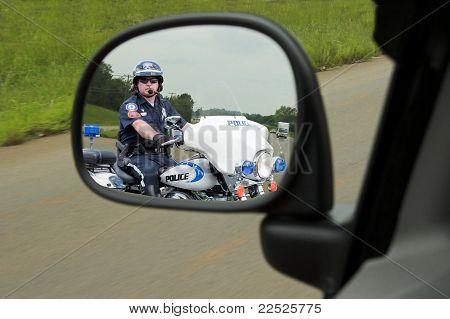 Polícia motocicleta policial espelho