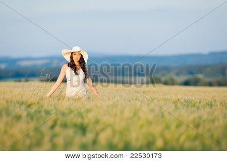 Sunset Corn Field Beautiful Brunette Woman Walk