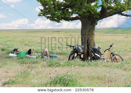 Bicycle Tourists Resting Near Tree, Field And Blue Sky