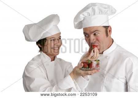 Chefs Tasting Strawberries