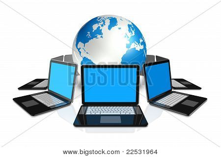 Laptop Computers Around A World Globe