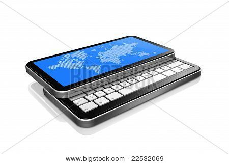 3D Mobile Phone, Pda Isolated On White With Worldmap On Screen
