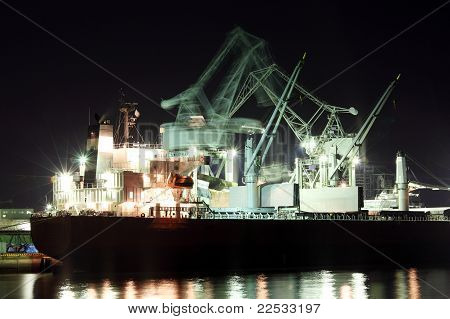 large cranes and cargo ship