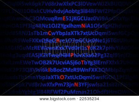 Encryption Concept - Red Decrypted Letters