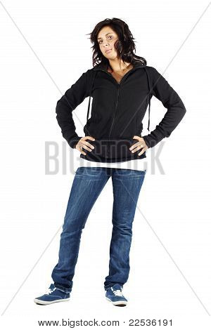 Young Attractive Girl In Hoodie Serious Face