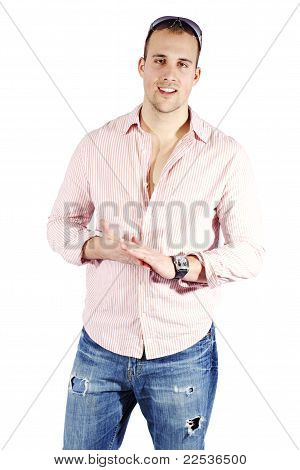 Young Man Dressed In Blouse And Jeans