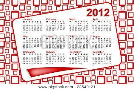 Red Squares 2012 Calendar