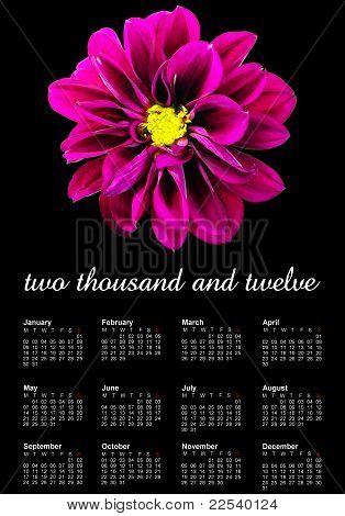 Purple Dahlia 2012 Calendar