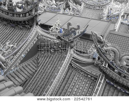 Buddhist Temple Rooftops