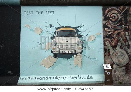 Trabant Through Berlin Wall