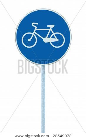 Bicycle Lane Sign Indicating Bike Route, Large Blue Round Isolated Roadside Traffic Signage