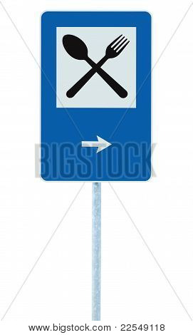 Restaurant Sign Post Pole Traffic Road Roadsign Blue Isolated Dinner Bar Catering Fork Spoon Signage