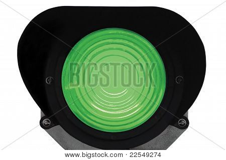 Green Light Railway Traffic Dwarf Signal Set At Go Ahed, Isolated, Railroad Ground Mounting Lamp