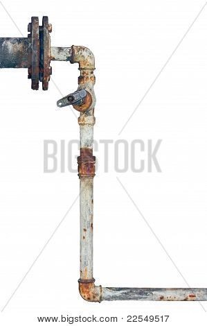 Old Rusty Pipes, Aged Weathered Isolated Grunge Iron Pipeline And Plumbing Joints Industrial