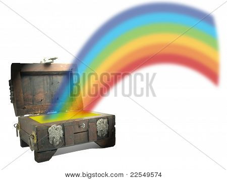Treasure Chest With Rainbow
